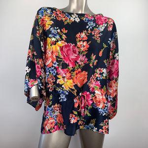 Ralph Lauren Chaps Floral Drawstring Blouse Large